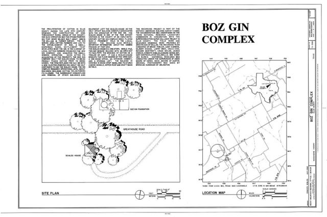 Boz Gin Complex, 0.05 miles east of the intersection of Boz and Great House Roads, Waxahachie, Ellis County, TX