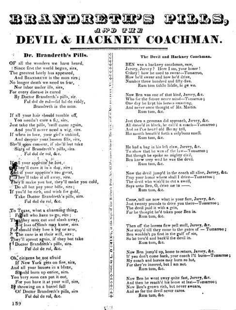 Brandreth's pills, and the Devil & Hackney Coachman. Sold by L. Deming, at the sign of the Barber's Pole, No. 61, Hanover Street. Boston and Middlebury, Vt