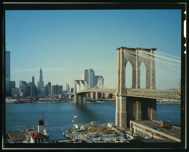 Brooklyn Bridge, Spanning East River between Park Row, Manhattan and Sands Street, Brooklyn, New York, New York County, NY