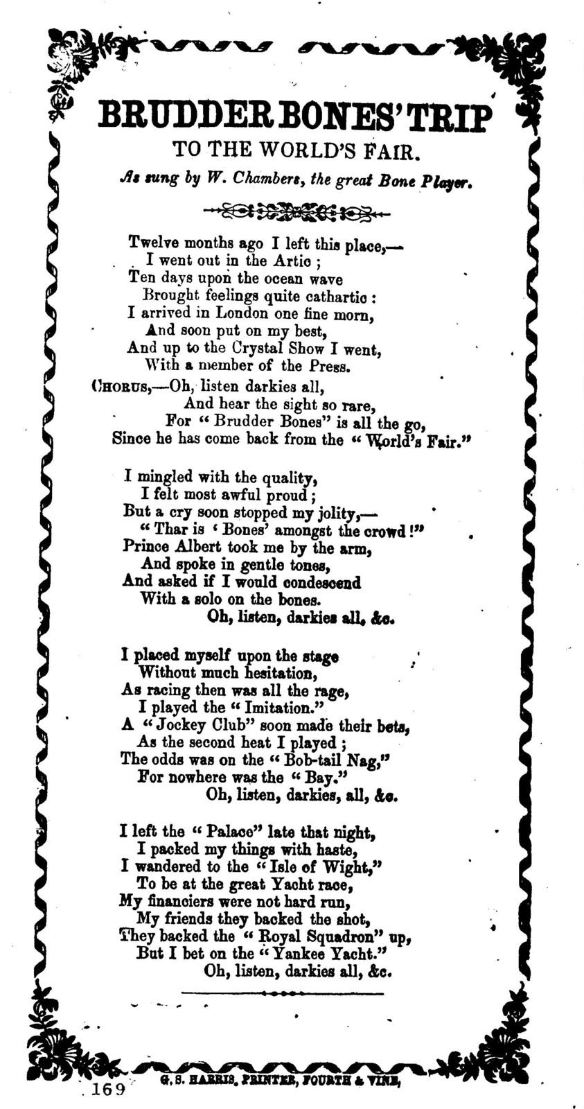 Brudder Bones' trip to the World's Fair. G. S. Harris, Printer, Fourth & Vine