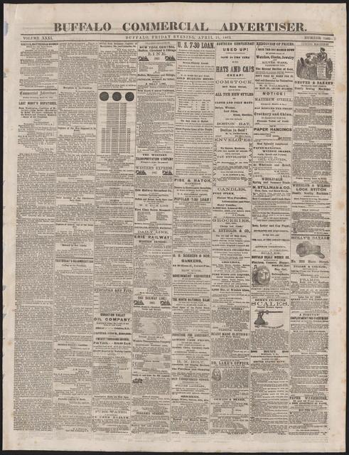 Buffalo Commerical Advertiser, [newspaper]. April 21, 1865.