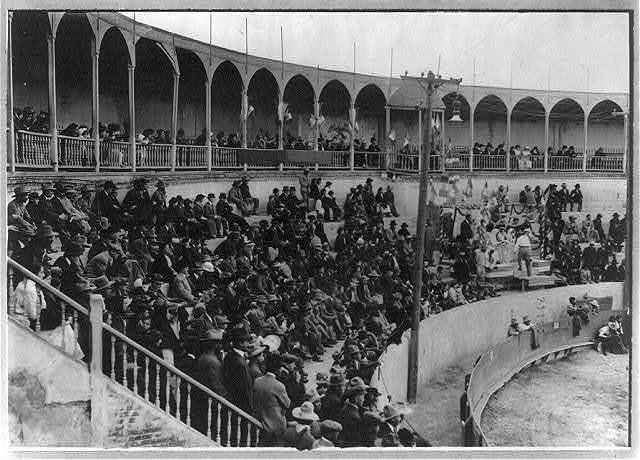 Bull fight, Mexico: spectators in stands