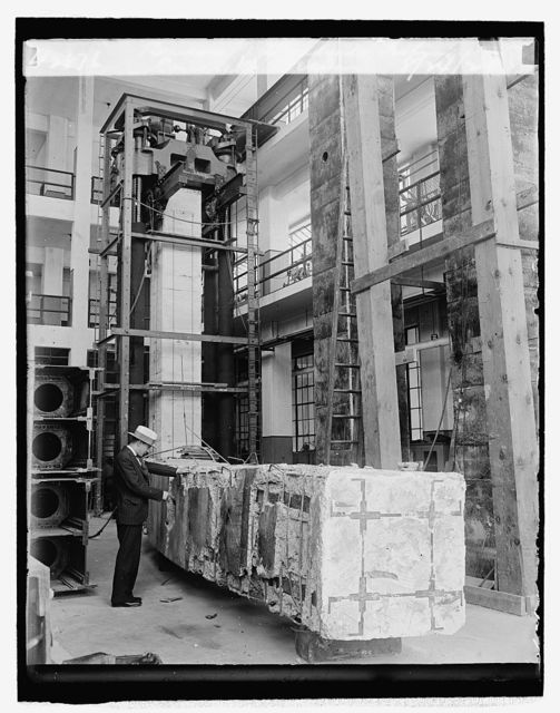 Bureau of Standards, testing concrete beams, 8/24/29