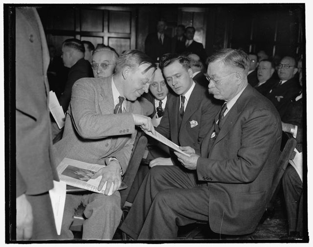 Butcher, baker, and candlestick maker. Washington, D.C., Feb. 2. Nearly a thousand small business men from all sections of the country and representing all types of business converged on Washington today for the Small Business Conference called by President Roosevelt. Here we see, left to right: Ellis Scott, Rutherford, N.J.; John A. St. Cyr, Minneapolis, Minn.; and W.H. Hanning, Houlton, Maine,. 2/2/38