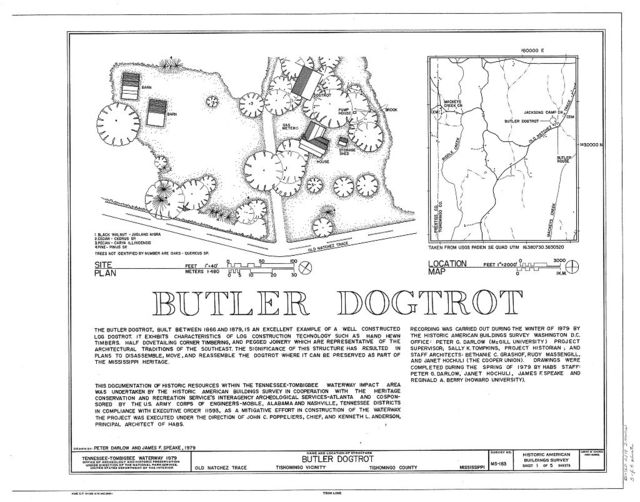 Butler Dogtrot, Old Natchez Trace, Tishomingo, Tishomingo County, MS