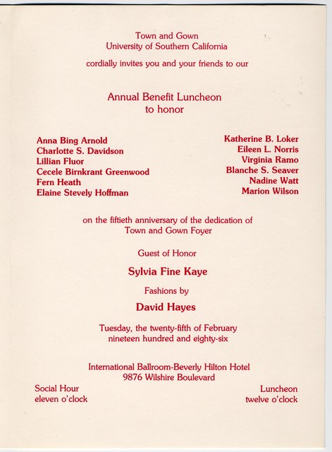 C atch a Shining Star [Program for Town and Gown of University of Southern California honors Sylvia Fine Kaye, February 25, 1986]