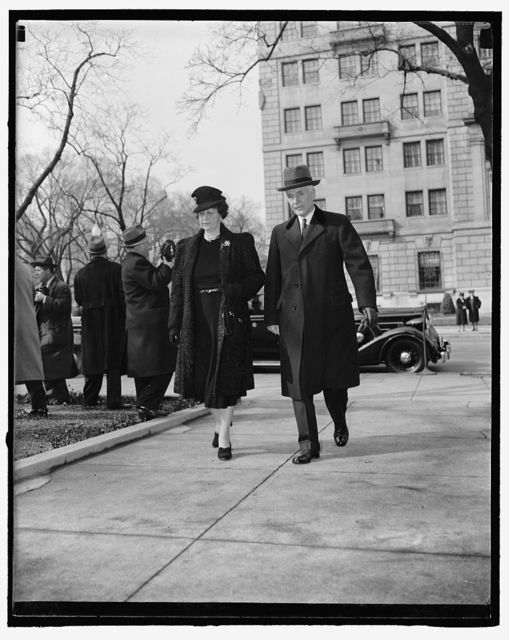 Cabinet members observe anniversary of president's inauguration. Washington, D.C., March 4. Congressional leaders, cabinet members and intimates of the president attended services at St. John's Episcopal Church today in observance of his first inauguration. Pictured here are Secretary of State Cordell Hull and Mrs. Hull