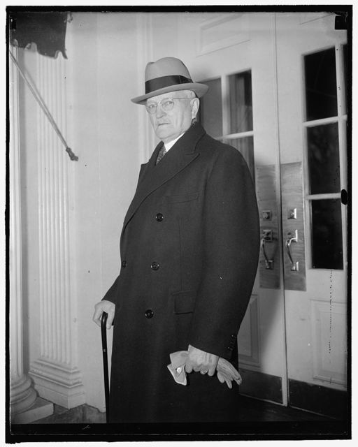 Calls on president. Washington, D.C., Dec. 9. Appearing hale and hardy, General John J. Pershing was a caller on President Roosevelt today. 12/9/37