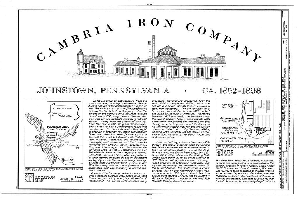 Cambria Iron Company, East side of Conemaugh River, Johnstown, Cambria County, PA