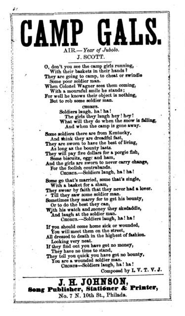 Camp gals. Air.- Year of Jubolo. J. Scott. J. H. Johnson, Song Publisher, ... Philada