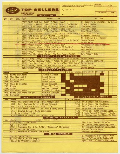 [ Capitol Records - Top Sellers Chart, 12/17/56]