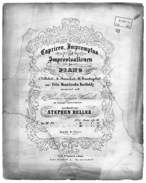 Capricen, impromptus, improvisationen, op. 72