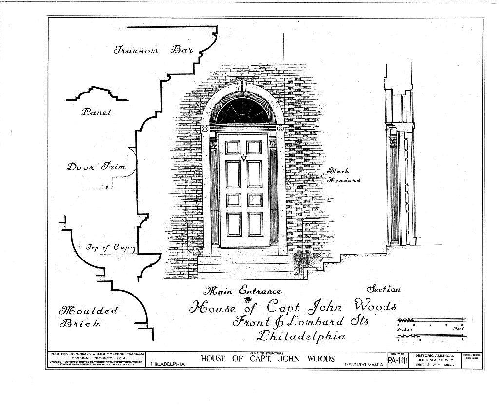 Captain John Woods House, Front & Lombard Streets, Philadelphia, Philadelphia County, PA