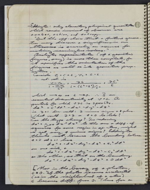 Carl Sagan's University of Chicago notebook