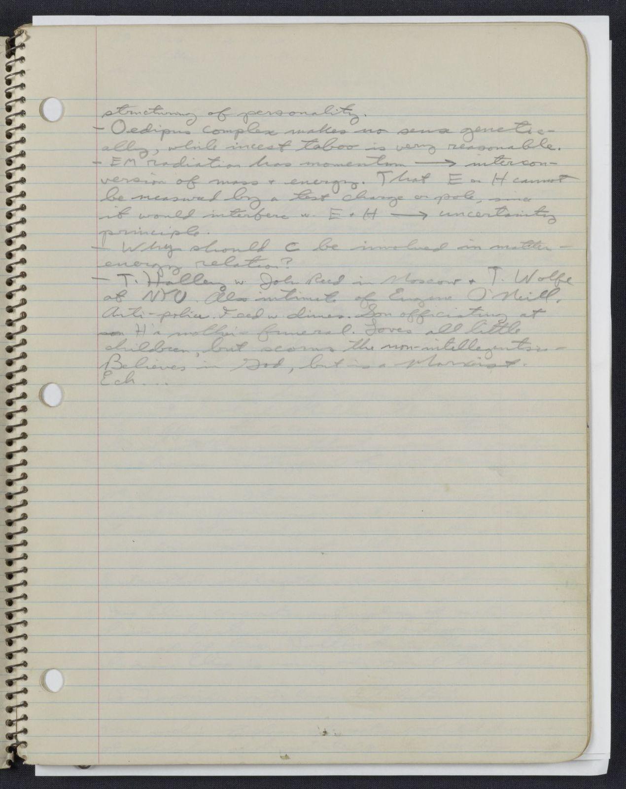 Carl Sagan's University of Chicago notebook
