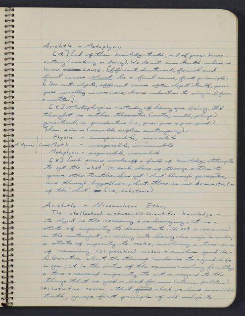 Carl Sagan's University of Chicago undergraduate notebook