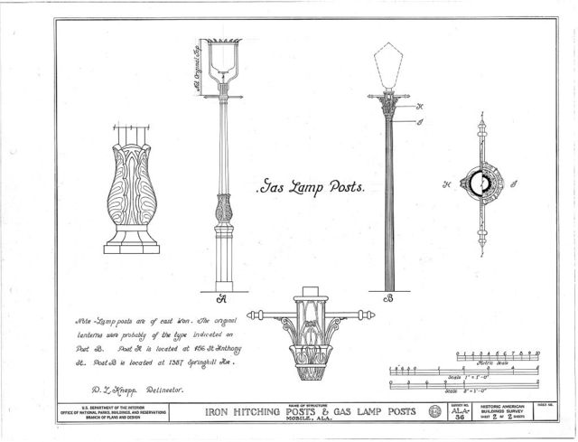 Carriage Block, Iron Hitching Posts & Lamp Posts, Various Mobile locations, Mobile, Mobile County, AL