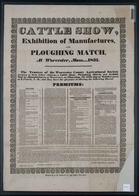 Cattle show, exhibition of manufactures, and ploughing match, at Worcester, Mass. ... 1831