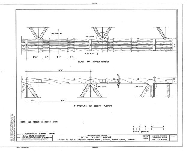 Ceylon Covered Bridge, Limberlost Park, spanning Wabash River at County Road 900 South, Geneva, Adams County, IN