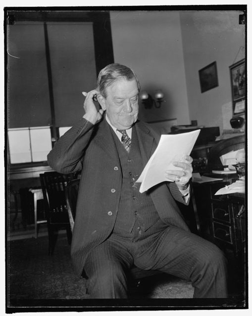 "Chairman senate Agriculture committee. Washington, D.C., Nov. 23. Senator Ellison D. ""Cotton Ed"" Smith, Chairman of the Senate Agriculture Committee. He represents South Carolina in the upper house of Congress. 11/23/37"