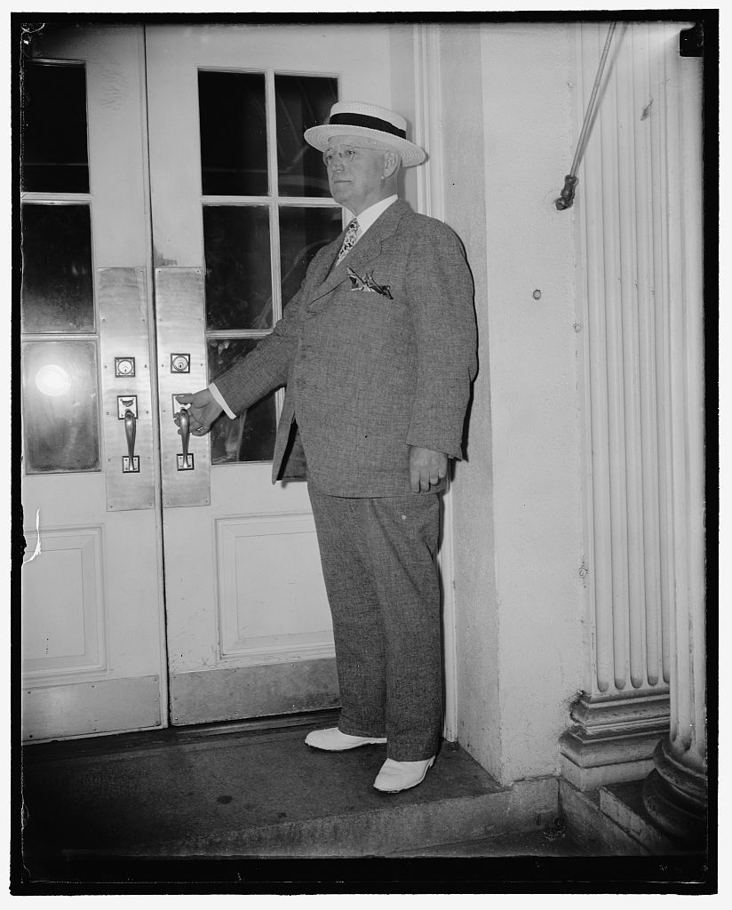 """Charges railroads with gambling on stock market. Washington, D.C., July 6. Alexander F. Whitney, president of the Brotherhood of Railway Trainmen, leaving the White House today after a conference with the President. Whitney said that railroads could save 700,000,000 to 8,000,000,000 annually if they would do nothing but sell transportation. He charged the railroads had been """"gambling on the stock market"""" and attempting to give rebates to shippers and added """"we expect to make a very strong case against the proposed 15 percent wage cut,"""" 7/6/38"""