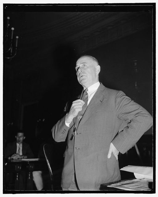 Chief of Bureau of U.S. Public Roads. Washington, D.C., July 25. A new informal picture of Thomas H. MacDonald, Chief of Bureau of Public Roads, U.S. Department of Public Roads. He was a witness today before the Senate Banking and Currency Committee, 7/25/39