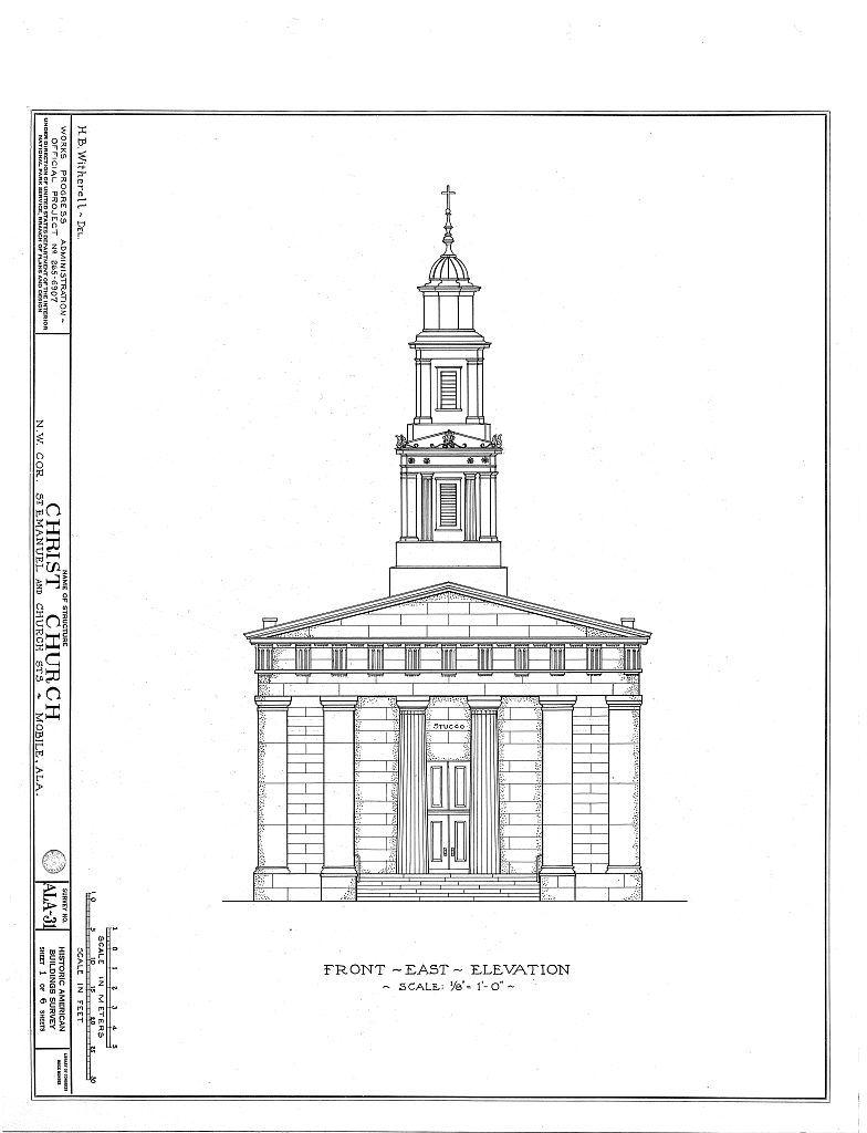 Christ Episcopal Church, Church & Saint Emanuel Streets, Mobile, Mobile County, AL