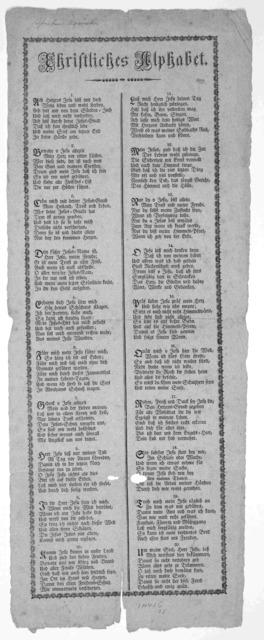 Christliches alphabet. [20 stanzas of verse] [n. d.].