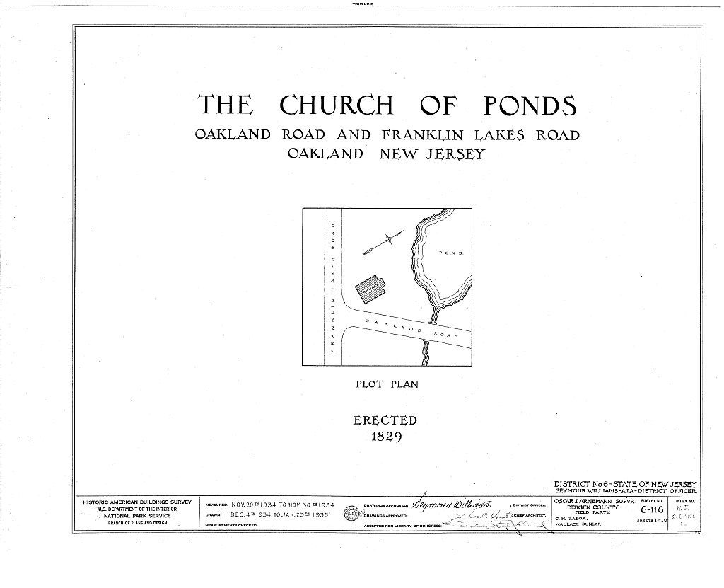 Church of Ponds, Oakland & Franklin Lakes Road, Oakland, Bergen County, NJ