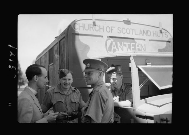 Church of Scotland huts canteen at St. Andrew's House. Canteen lorry, a smoke before leaving