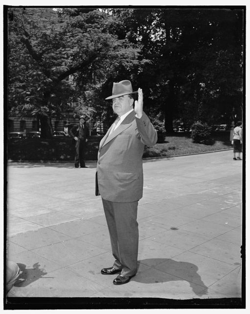 C.I.O. Chief luncheon guest of president Washington, D.C., May 20. John L. Lewis, C.I.O. Head, arriving at the White House today where he was a luncheon guest of President Roosevelt. While the chief executive said Lewis did not come to the White House to confer on political matters, significance, however, was attached to the fact that the meeting follows by three days the defeat of Lewis backed candidates in Pennsylvania's primaries last Tuesday, 5/20/38