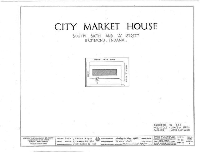 City Market House, South Sixty & A Streets, Richmond, Wayne County, IN