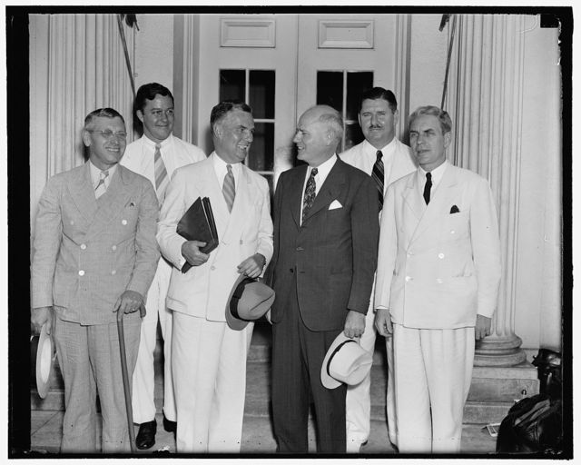Civil Aeronautics Authority makes first official visit to the White House. Washington, D.C., Sept. 1. The newly created Civil Aeronautics Authority paid it's first visit to the White House today in it's official capacity to report to the president about the progress of the commission. Left to right; front; Harlee Branch, Edward J. Noble, Chairman, Robert Hinckley, and Oswald Ryan. Left to r, rear; G. Grant Mason, and Clinton Hester, 9/1/38