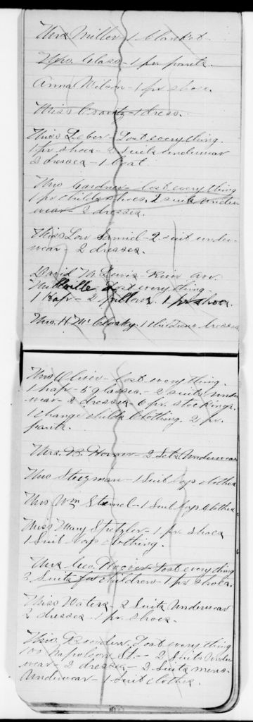 Clara Barton Papers: Red Cross File, 1863-1957; American National Red Cross, 1878-1957; Relief operations; Johnstown, Pa.; Supply distribution book, undated