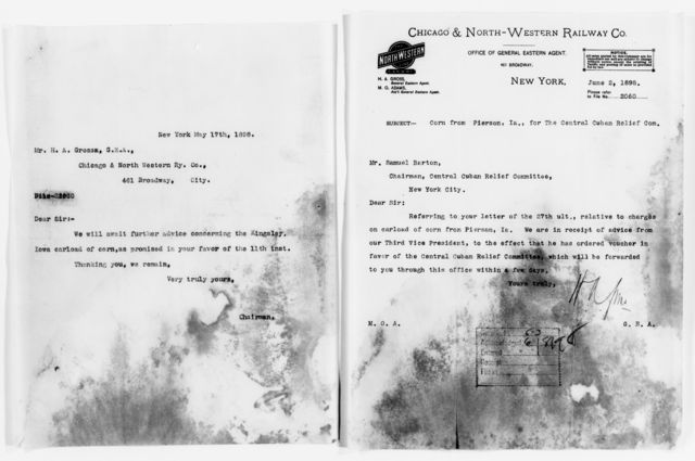 Clara Barton Papers: Red Cross File, 1863-1957; American National Red Cross, 1878-1957; Relief operations; Spanish-American War; Shipping and transportation; Railroad companies and shipping lines, A-Y