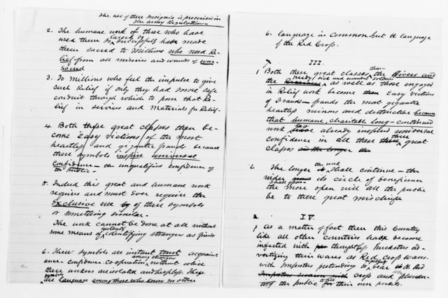 Clara Barton Papers: Red Cross File, 1863-1957; American National Red Cross, 1878-1957; Incorporation; National incorporation and insignia protection; Sheldon, Joseph, address before the Senate Foreign Affairs Committee
