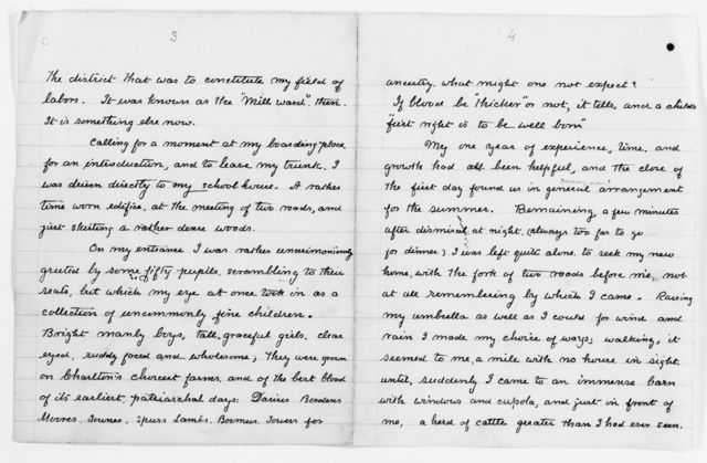 "Clara Barton Papers: Speeches and Writings File, 1849-1947; Books; ""The Life of My Childhood"" (unpublished); Drafts; Handwritten copy, undated"