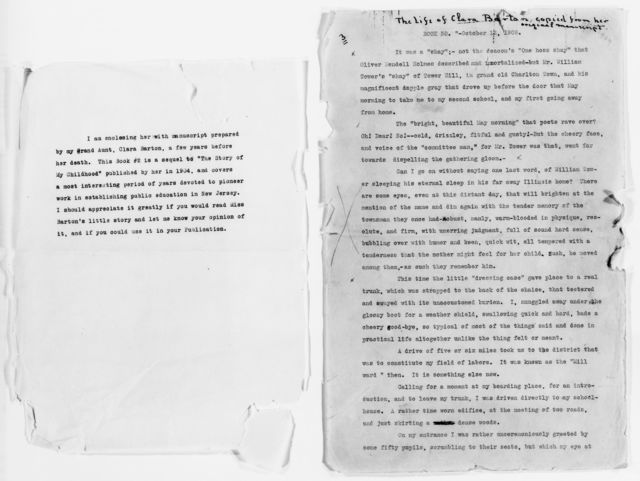 """Clara Barton Papers: Speeches and Writings File, 1849-1947; Books;""""The Life of My Childhood"""" (unpublished); Drafts; Typescript, undated"""