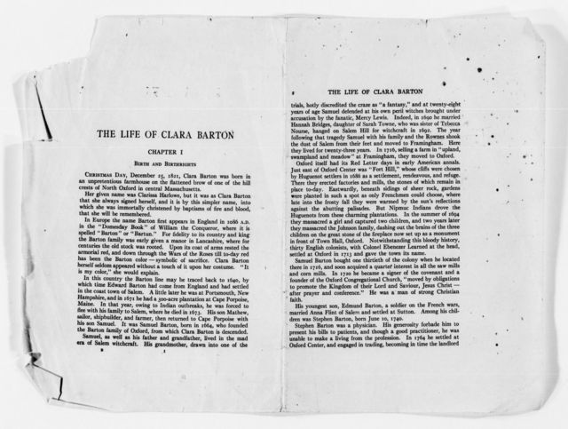 Clara Barton Papers: Speeches and Writings File, 1849-1947; Speeches and writing by others; Books; Epler, Percy H., The Life of Clara Barton