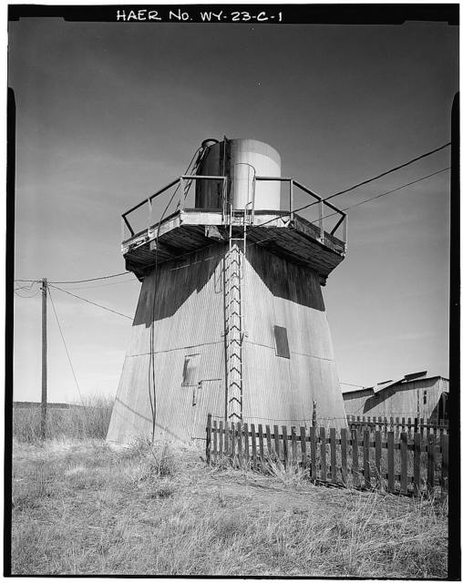 Clay Spur Bentonite Plant & Camp, Water Tower, Clay Spur Siding on Burlington Northern Railroad, Osage, Weston County, WY
