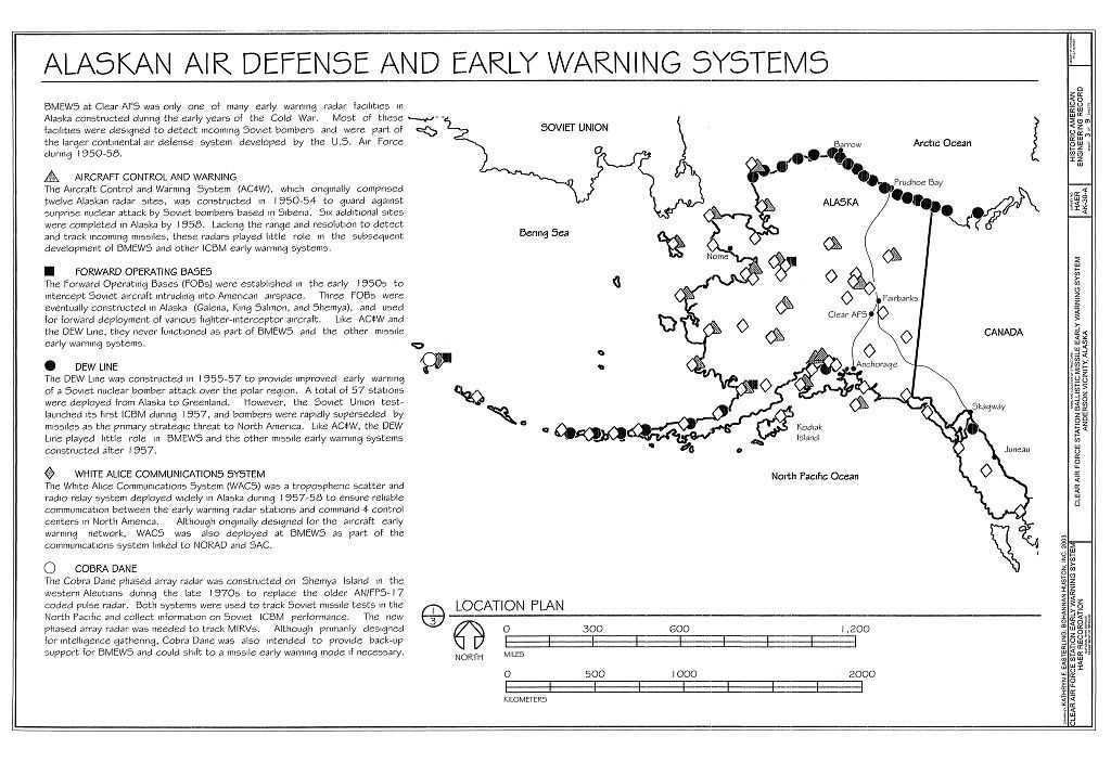 Clear Air Force Station, Ballistic Missile Early Warning System Site II, One mile west of mile marker 293.5 on Parks Highway, 5 miles southwest of Anderson, Anderson, Denali Borough, AK