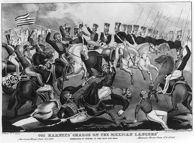 Col. Harneys' charge on the Mexican lancers' commanded by General La Vega near Vera Cruz American forces from 4 to 600 Mexican forces from 6 to 10,000