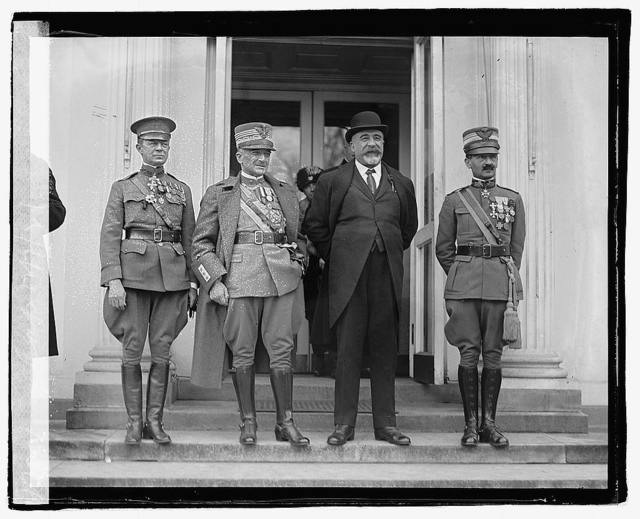 Col. Mervyn Buckey, General Diaz, Ambassador Ricci, and Marquis de Bernezzo, Military Attache of the Italian Embassy, call at the White House when Gen. Diaz bids President Harding farewell, 12/7/21