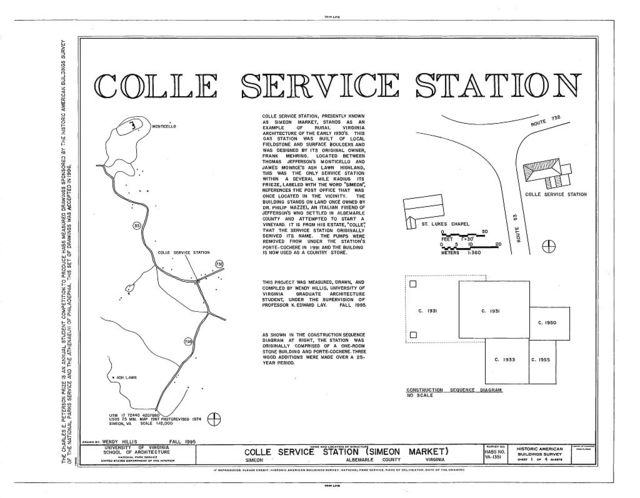 Colle Service Station, State Routes 732 & 53, Simeon, Albemarle County, VA