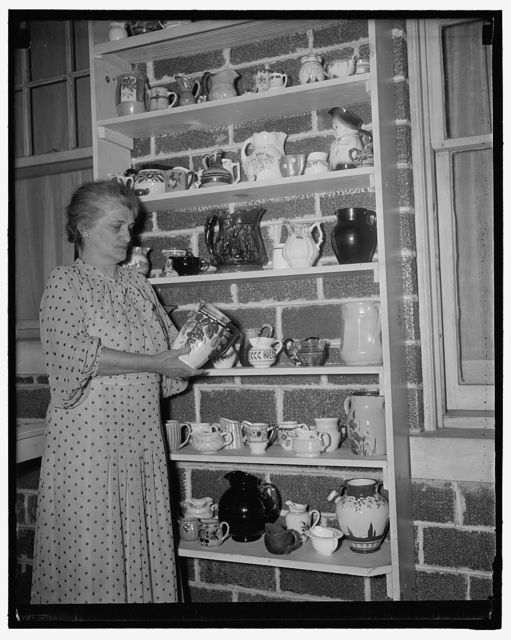 Collecting pitchers is hobby of Virginian. Arlington, VA, July 2. Twenty five years ago Mrs. William B. King of Arlington VA., started her hobby of collecting pitchers. Now she has over 300 and only two duplicates in the collections. She has pitchers from almost every state in the Union as many from foreign countries. England has contributed a fine Toby, a pitcher in the shape of a cow and another which is a souvenier of Oxford. Included in her collection are also ones from Italy, Germany, France, Holland, Africa, Belgium, Mexico, and Bermuda. Her hobby seems much more interesting when you consider that all her pitchers are used on different occasions instead of being used for decoration only, 7/2/37