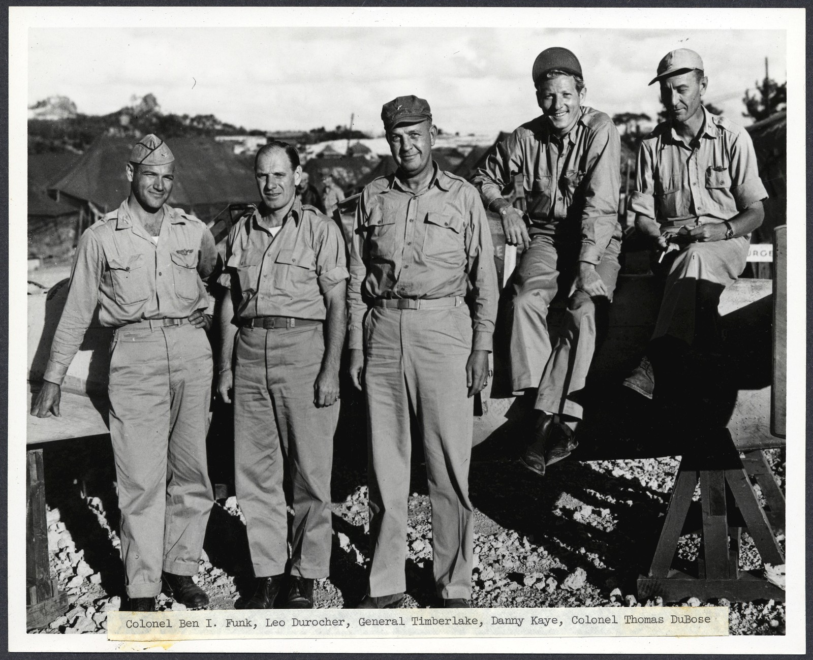 Colonel Ben I. Funk, Leo Durocher, General Timberlake, Danny Kaye, Colonel Thomas Dubose [in Okinawa], [1945]