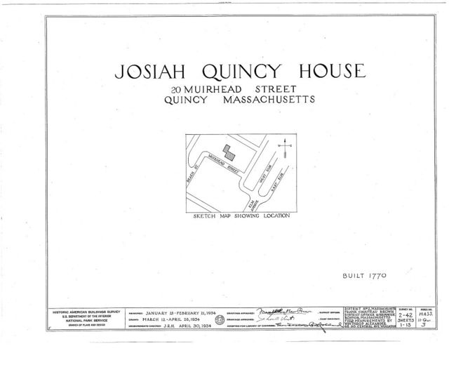 Colonel Josiah Quincy House, 20 Muirhead Street, Quincy, Norfolk County, MA