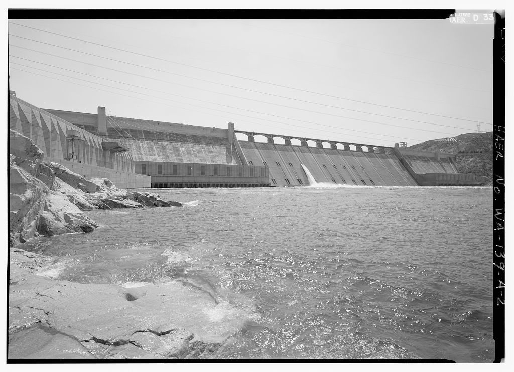 Columbia Basin Project, Grand Coulee Dam & Franklin D. Roosevelt Lake, Across Columbia River, Southeast of Town of Grand Coulee, Grand Coulee, Grant County, WA
