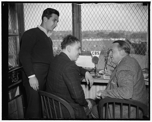 Columbia Broadcasting System. Arch McDonald, Warren Sweeney, and helpers at ball park, 4/19/38