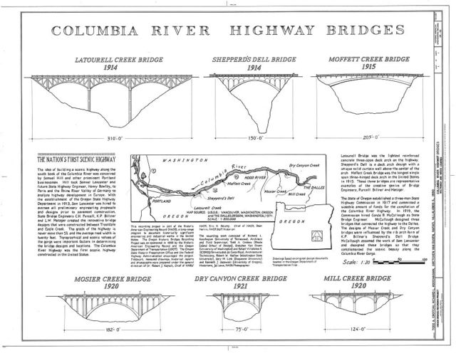 Columbia River Highway Bridges, Spanning various creeks along Columbia River Highway, Portland, Multnomah County, OR